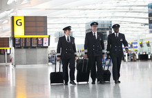 Pilots walk through Terminal 5