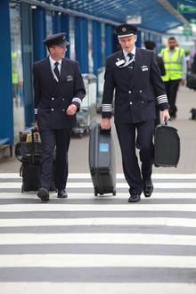 Pilots arrive at London City Airport