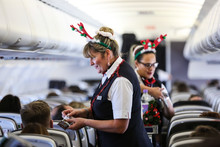 Cabin crew celebrate Christmas on board
