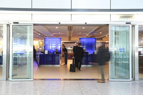 The entrance to the Galleries lounge at Heathrow Terminal 5