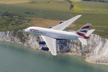 A380 over the White Cliffs of Dover