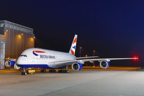 An A380 heads to the hangar