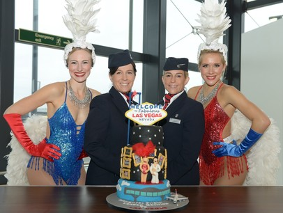 British Airways cabin crew with Las Vegas showgirls