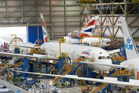 Boeing 787-9 on the production line in Seattle