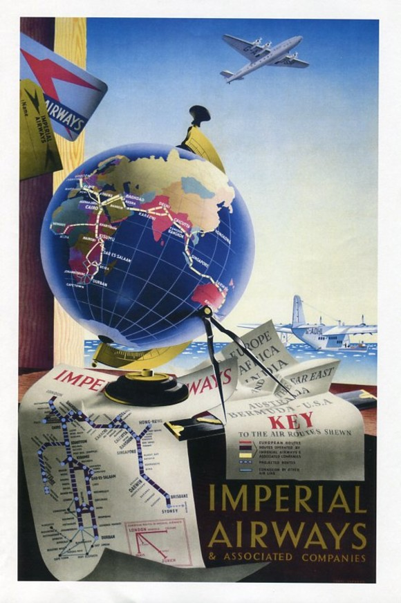 An Imperial Airways poster c. 1948, promotes its routes to the Far East. Credit to watercolour artist Roland Hilder.