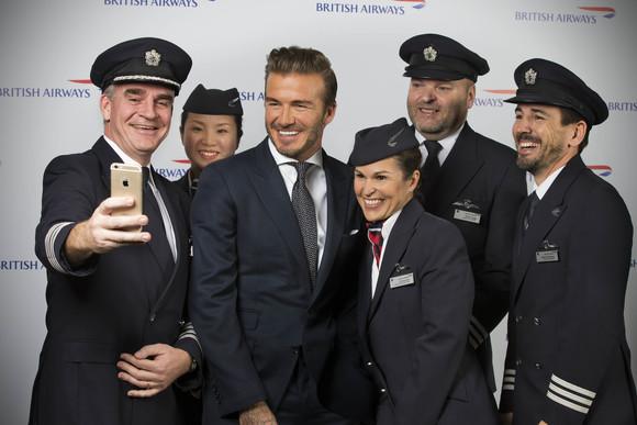 David Beckham with BA Crew