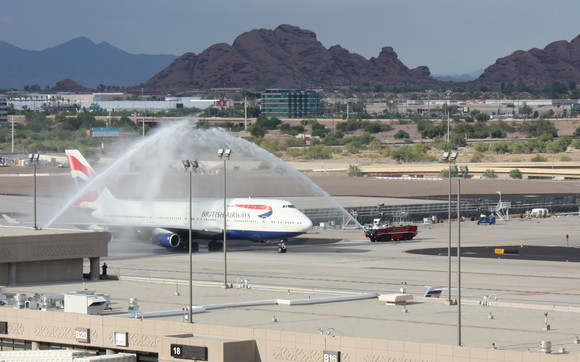 Water cannon salute for 20th anniversary of British Airways flying to Phoenix