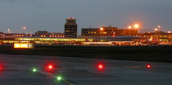 Manchester Airport at night