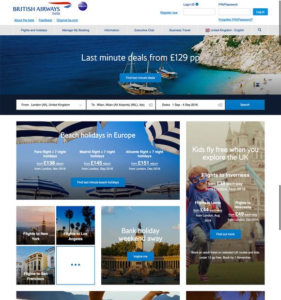 Beta ba.com home page