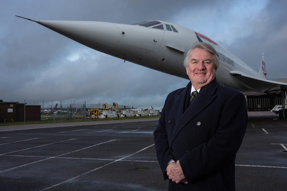 Captain Mike Bannister with Concorde at Heathrow ahead of the 40th anniversary of the first commercial flight