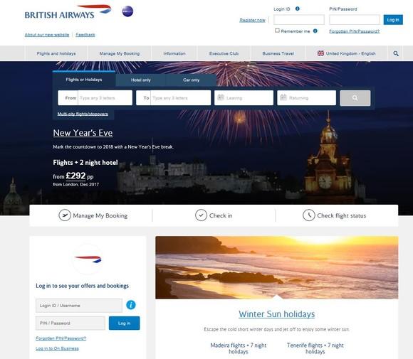 New ba.com homepage